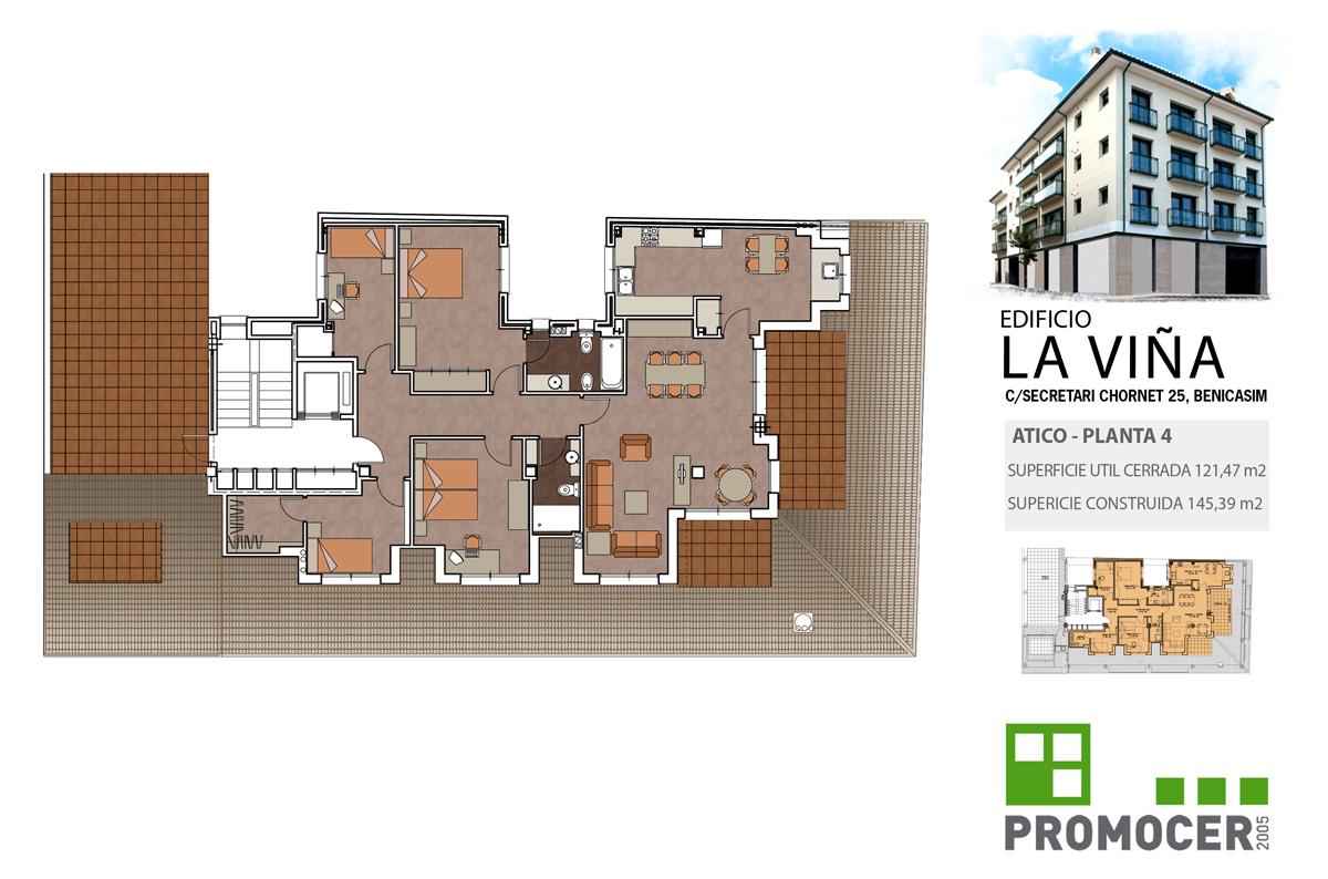 Planos Edificio La Viña Atico Planta 4